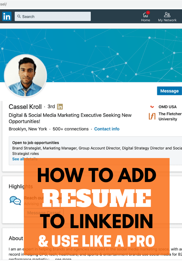 add resume to linkedin